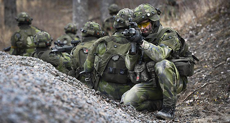 Kamouflageklädda soldater siktar med vapen i skogen.