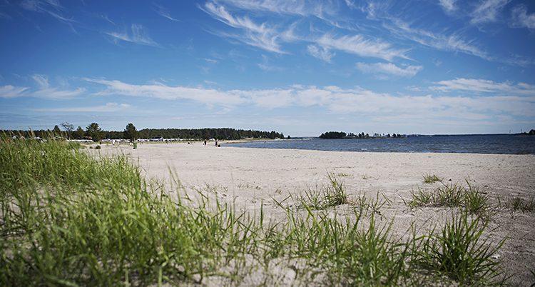 Piteå havsbad. En lång strand, vatten och lite gräs syns i förgrunden. Längst bort ser man skog.