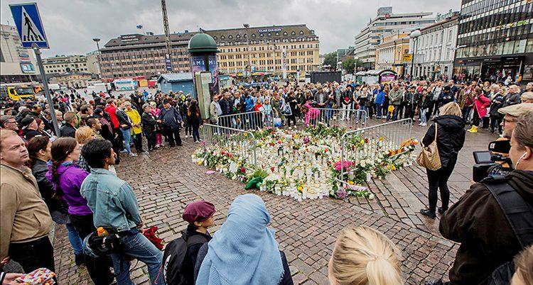 Blommor på torget i Åbo
