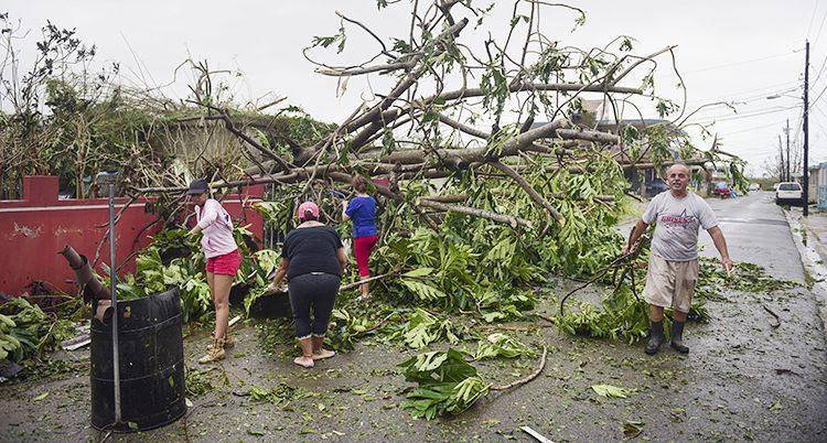 En familj städar efter ovädret