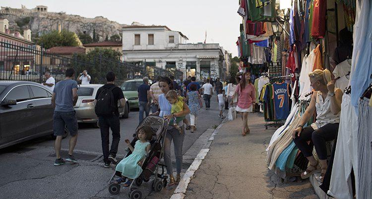 Människor i staden Aten