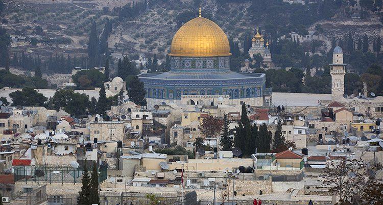 En bild av gamla staden i Jerusalem