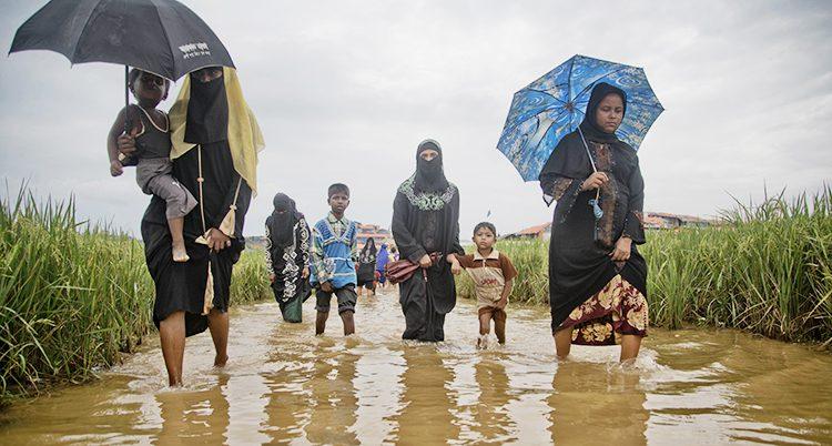 Flyktingar vandrar genom lervatten.