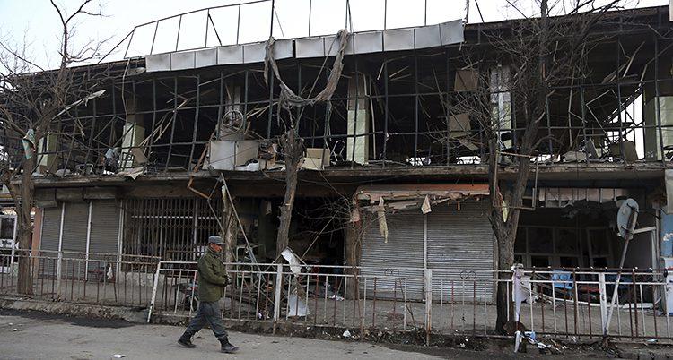 Ett hus som skadats av en bomb