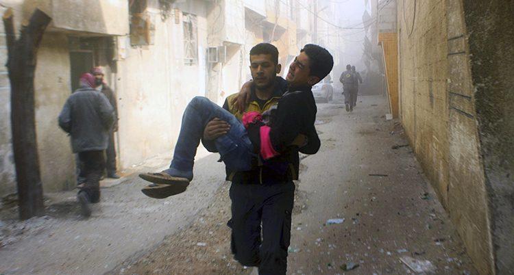 En skadad man i Ghouta