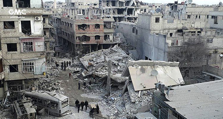 Bombade hus i Ghouta