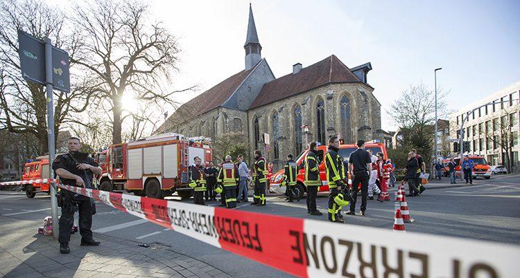 Poliser i Münster i Tyskland: