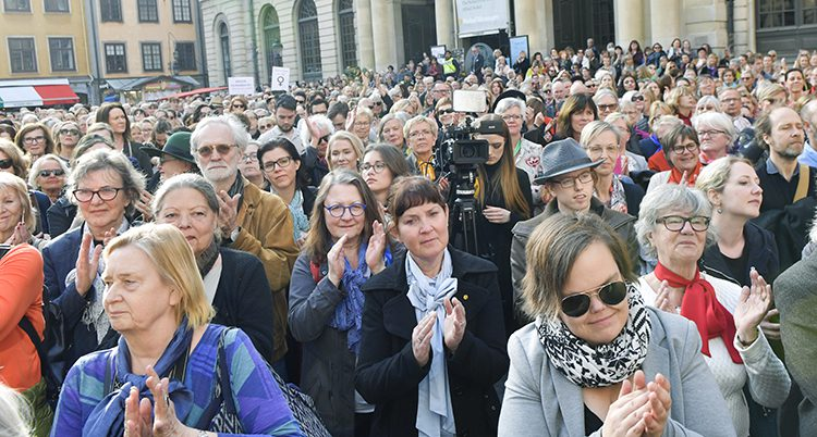 Folk demonstrerade i Stockholm