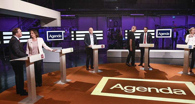 Stefan Löfven, Isabella Lövin, Jonas Sjöstedt och Jimmie Åkesson