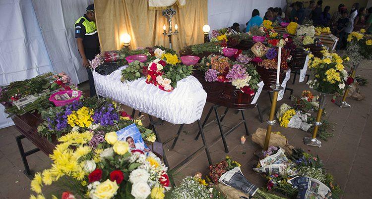 Kistor med döda människor täckta med blommor