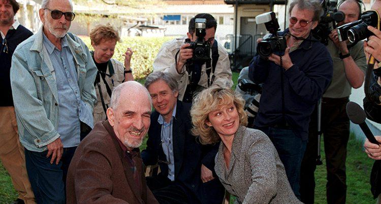 Ingmar Bergman på en filminspelning.