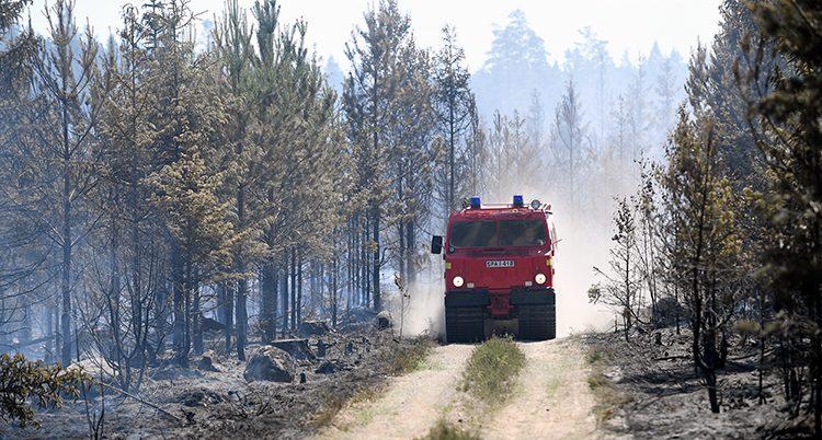 En brandbil i skogen i Värmland