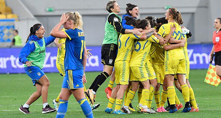 Ukrainas spelare jublar