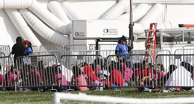 Barn som sitter i en inhägnad.