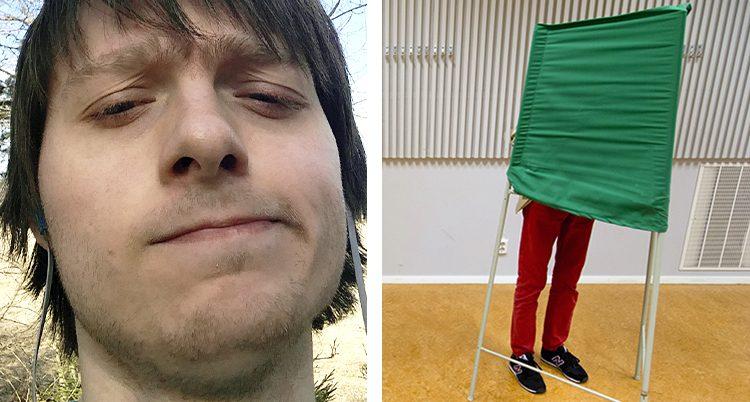 Matthias Rundqvist på biden till vänster. En man som röstar på bilden till höger.