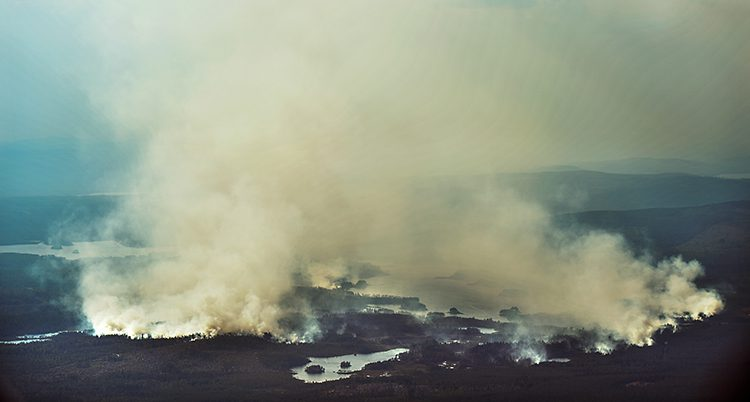 Rök från en brand i Ljusdal