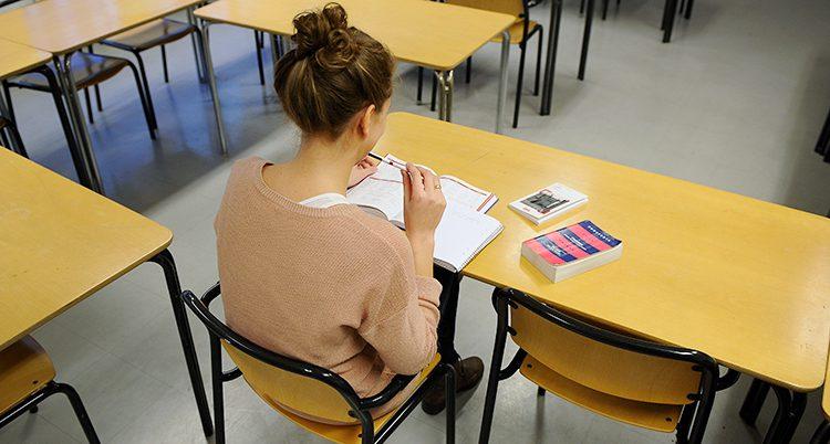 En ung kvinna studerar