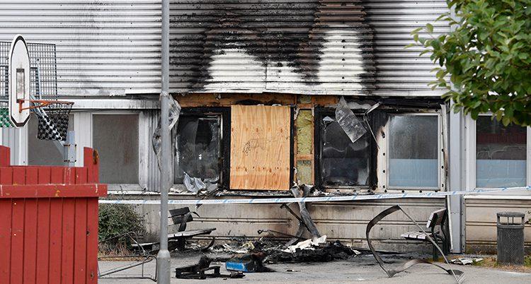 En skola som skadats i en brand