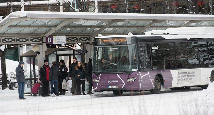 En buss i staden Skellefteå