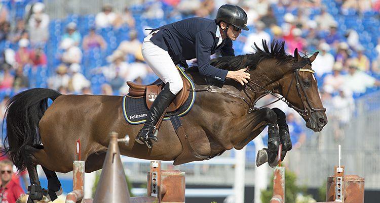 Hästen är mitt i ett hopp på väg över ett hinder.