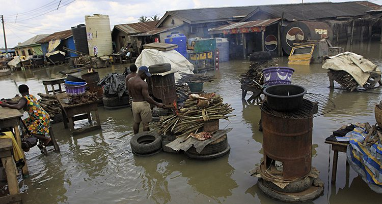 En by som blivit översvämmad.