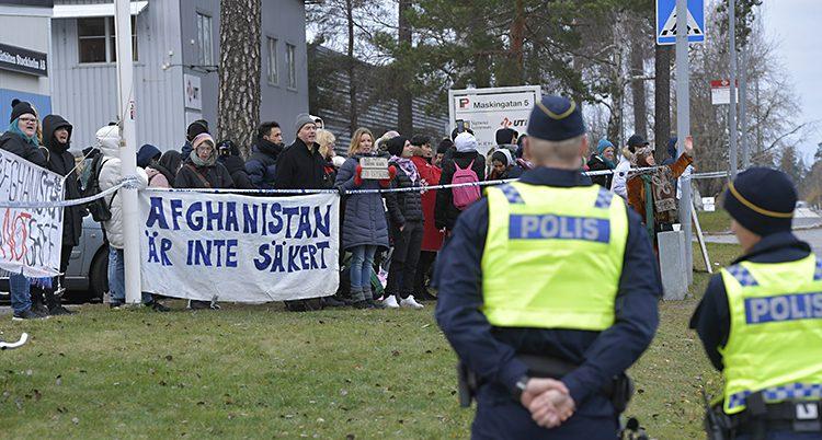 Folk demonstrerade i Märsta