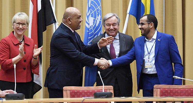 Margot Wallström, FNs ledare och två personer från Jemen.