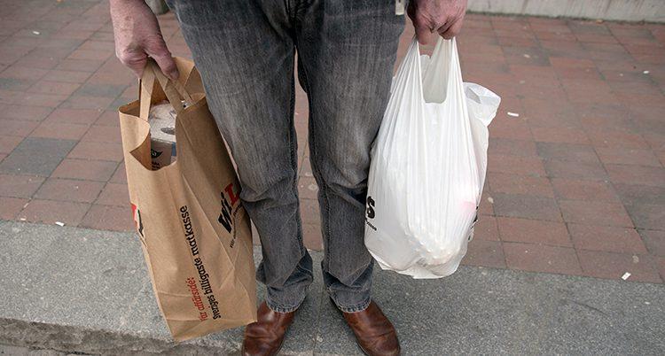 En person håller i en papperskasse och en plastkasse.