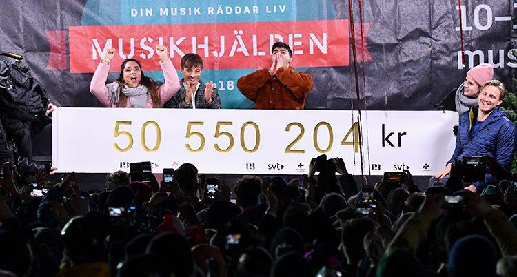 De tre programledarna firar och håller upp en banderoll med summan över hur mycket de dragit in.