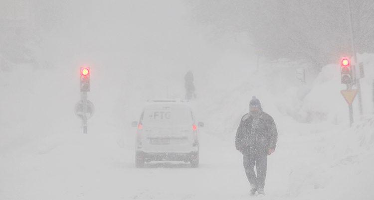 Snöoväder i norra Sverige
