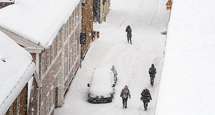 Mycket snö i Falun.