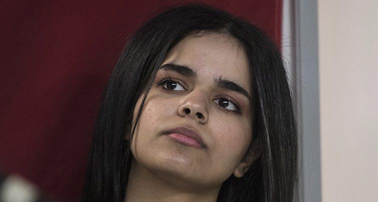 En ansiktsbild på Rahaf al Qunun.