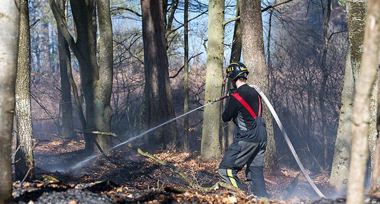 En brandman släcker en brand