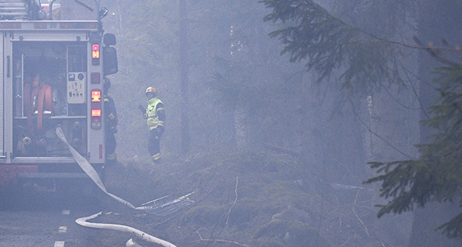 Brandmän kämpar mot elden.