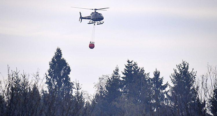 En helikopter släcker en brand