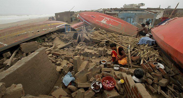 Ovädret förstörde många hus.