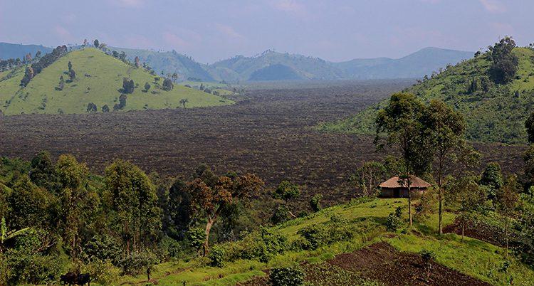 Svart mark mellan gröna kullar