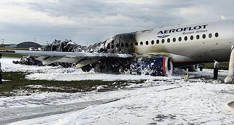 Flygplanet som brann.
