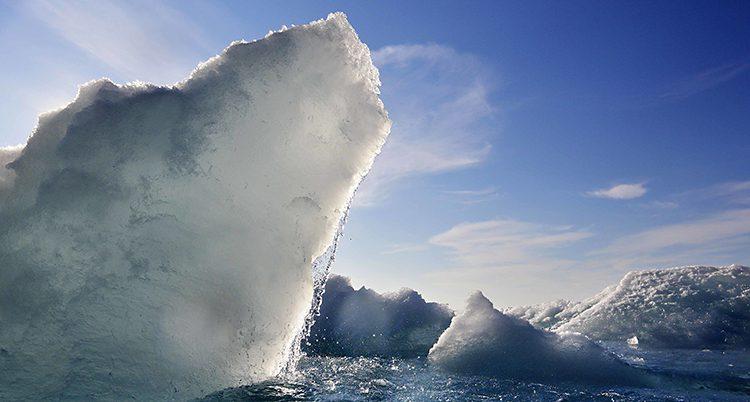 Ett isberg i Arktis sticker upp ur vattnet