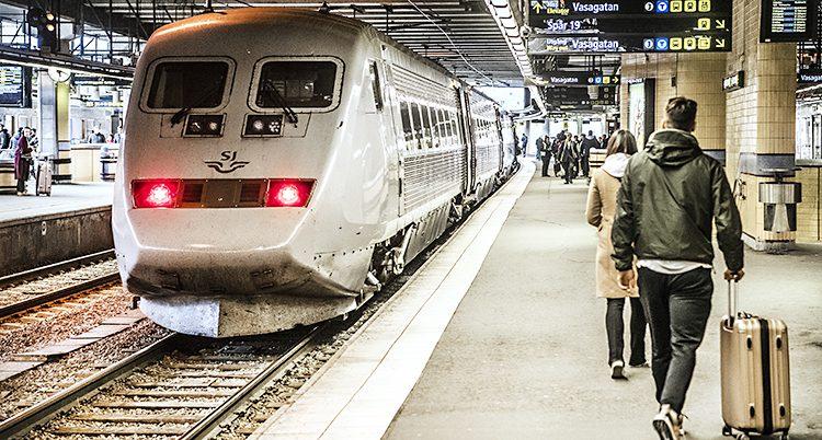Ett tåg på stationen i Stockholm