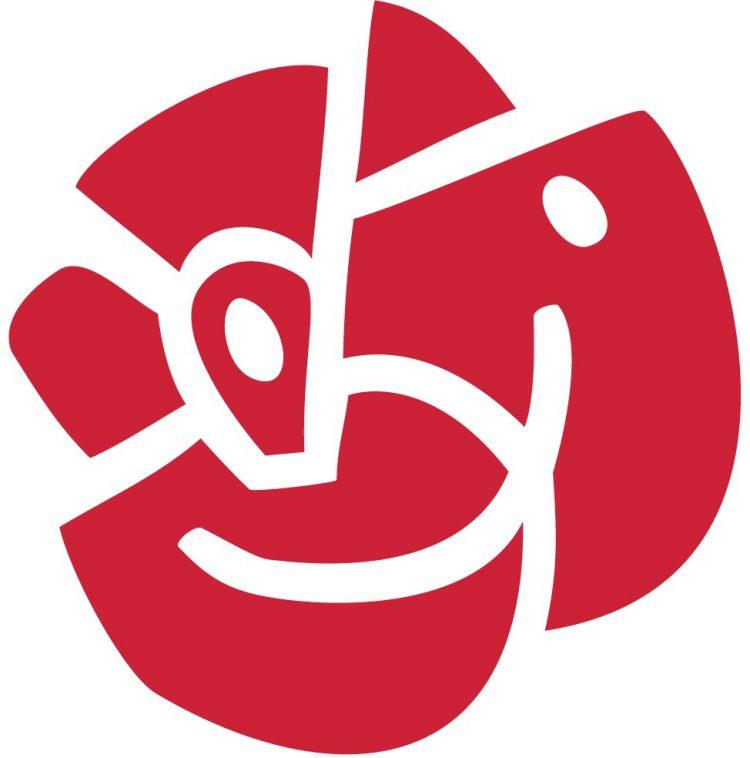 Socialdemokraternas logga, en röd ros