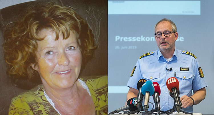Bilden är delad i två. I den vänstra delen syns en kvinna, i den högra syns en polis.