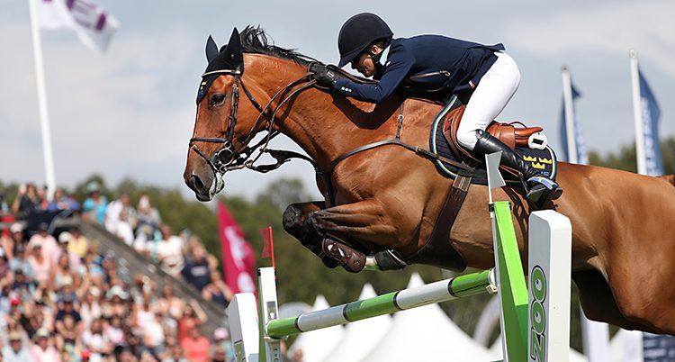 En ryttare och en häst hoppar över ett hinder.