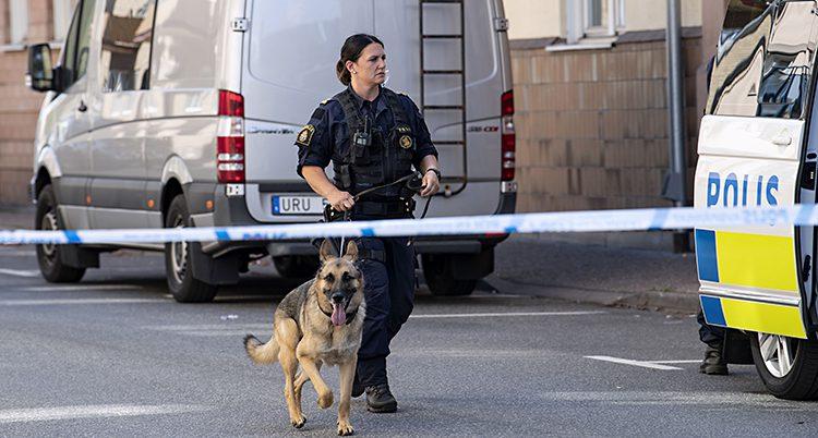 En kvinnlig polis med en polishund går på en gata. En polisbuss til höger och ett band som visar att ingen får gå innanför.