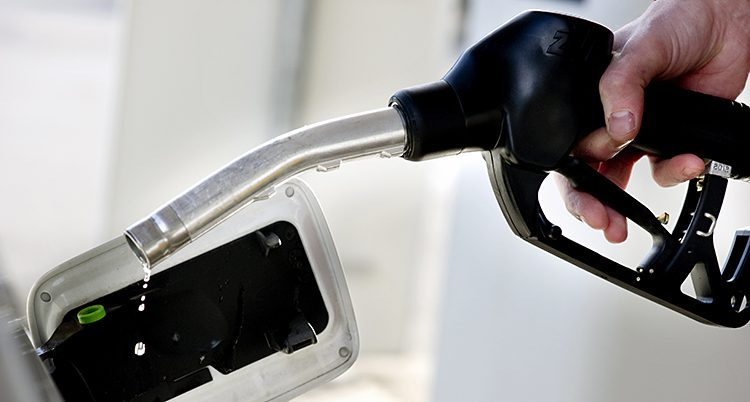 En hand som håller i en bensinpump