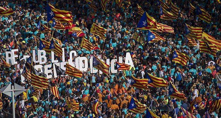 Tusentals människor viftar med katalanska flaggan ute på gatan.