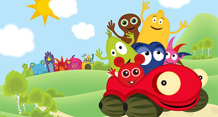 Tecknade figurer i glada färger åker i en röd bil med ögon