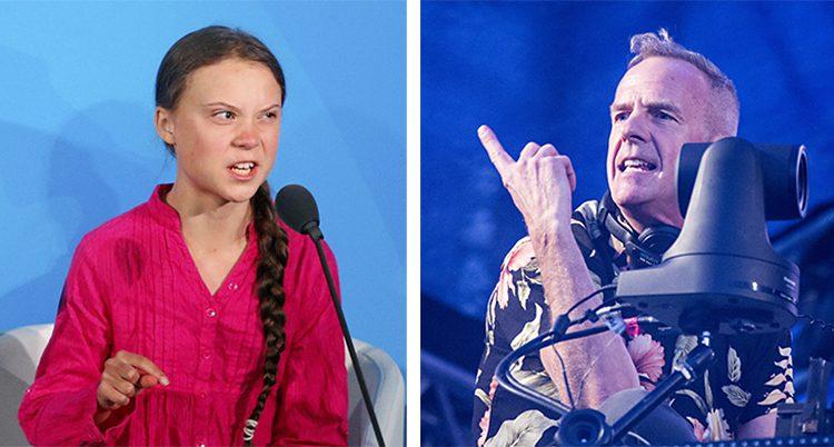 På ena bilden ser Greta Thunberg arg ut. Framför sig har hon en mikrofon. Bakgrunden är blå. Artisten Fatboy slim står i ett dj-bås och spelar musik. Bakgrunden är blå.