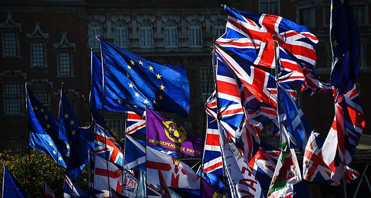Många flaggor vajar i vinden utanför riksdagens hus i London i Storbritannien. Man ser bland annat EU:s flagga och Storbritanniens flagga.