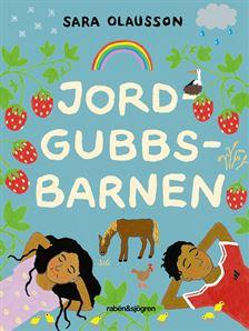 En regnbåge, några jordgubbar, två barn och en häst syns på bokens framsida.
